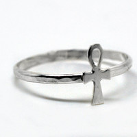 Sterling Silver Ankh Ring, Handcrafted Egyptian Ring