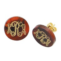 Tortoise Shell Acrylic Earring with Gold Monogram