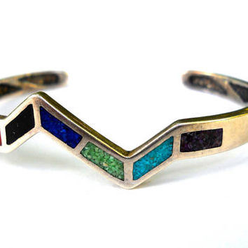 Multi Gemstone Inlay Cuff Bracelet, Sterling Silver Southwest Navajo, Vintage