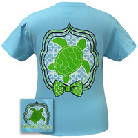 Girlie Girl Originals Preppy Turtle 2 Anchor Bow Blue T Shirt