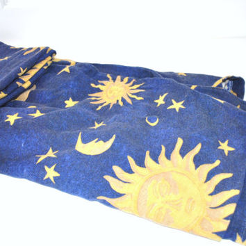 sun moon and stars esoteric flannel twin duvet cover