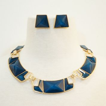 Circle Of Life Necklace & Earring Set-- Deep Blue Edition