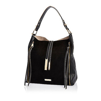 Black tassel oversized slouch handbag - shopper / tote bags - bags / purses - women