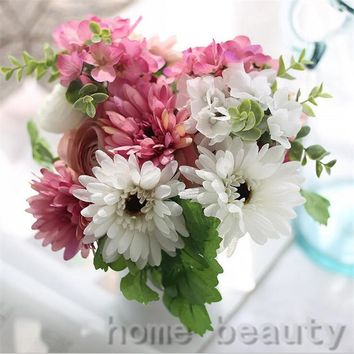 1 Bouquet Vivid Gerbera Fake Leaf Colorful Artificial Silk Flowers Bridal Decor Fall Wedding Home Party Decoration