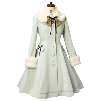 Custom Tailored Lolita Trench Coat Sweet Fur Collared Daily Single-breasted Women's Long Coat