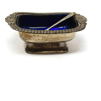 Large Old Sheffield Plate Salt Cellar and Cobalt Glass Salt Cellar with Spoon - Silverplate Open Master Salt - Vintage Home Decor