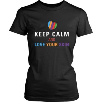 Keep Calm and Love Your Skin Short Sleeve Tee T Shirt Top - White Decal