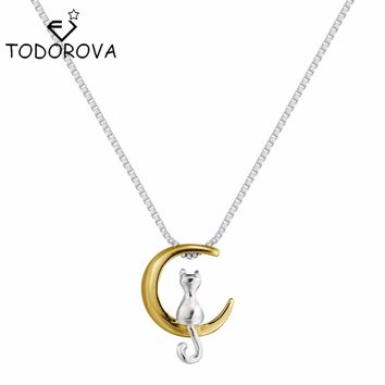 Todorova Real Pure 925 Sterling Silver Lovely Cat On the Gold Moon Pendant Necklace Statement Necklace for Women Christmas Gift