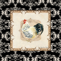 Kitchen Rooster Spangled Allen Setter Watercolor Damask Vintage Style Art Print by Audrey Jeannes