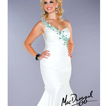 (PRE-ORDER) Mac Duggal 2014 Plus Size Prom Dresses - White & Aqua Crystal Chiffon Mermaid Gown