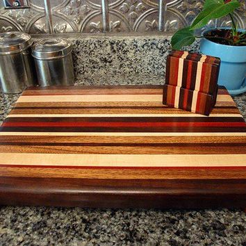 Handmade Large Wood Cutting Board with Matching Coasters - The Rustic Retro Set - Black Walnut & Bloodwood