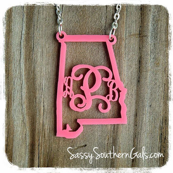 State Pride Monogrammed Acrylic Necklace, My State Necklace, Monogrammed Gift, Monogrammed State Necklace