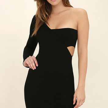 One Night Black One Shoulder Bodycon Dress