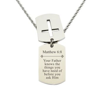 Mens Scripture Double Tag Necklace - Matthew 6:8