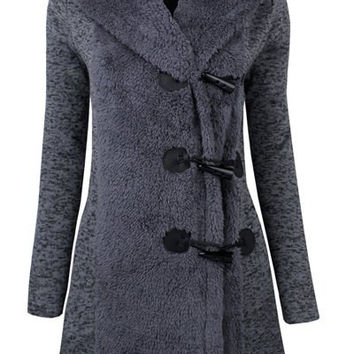 Hooded Long Sleeve Toggle Closure Coat