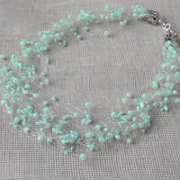 Mint Green Necklace. Bridesmaid  Necklace. Wedding Necklace. Multistrand Necklace. Beadwork.
