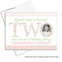 Little girl birthday invitations | Floral second birthday invitation for girls | pink, green, peach, coral | printable or printed - WLP00322
