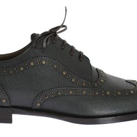 Dolce & Gabbana Green Leather Dress Oxford Wingtip Shoes