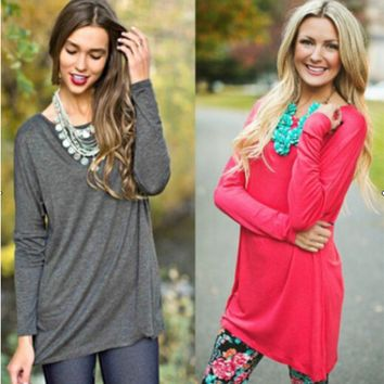 Plain Long-Sleeve Loose Shirt