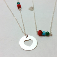 Mother and Daughter Red Coral and turquoise Beads  Sterling Silver Necklace Set, Mother Daughter Necklace Set