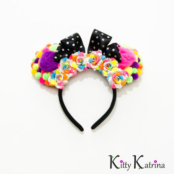 Pom Pom Minnie Mouse Ears Headband, Kawaii Headband, Disney Birthday Ears, Disney Bound, Disney World, Disneyland, Disney Anniversary