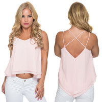 Take Two Blouse Tank In Blush Pink