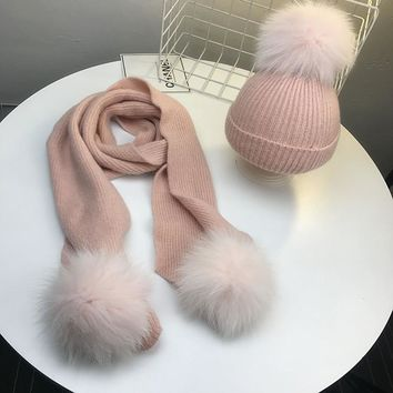 Women Solid Wool Cashmere Knitted Caps Winter Warm 3pcs Geunuine Fox Fur Ball Pompoms Knit Beanies Skullies Hats Bone Gorros