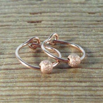 Hoop Earrings Pink Gold with Pink Gold Stardust Bead