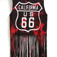 CALIFORNIA 66 Graphic Print Red and Black Sleeveless Tassel Crop Top