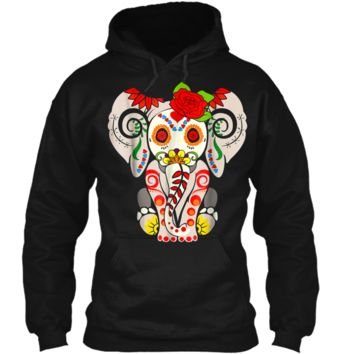 Elephant Sugar Skull  Day Of The Dead Halloween Costume Pullover Hoodie 8 oz