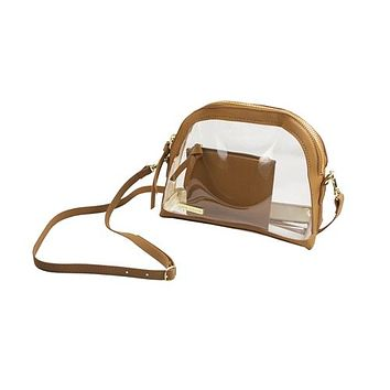 Clear Half Moon Crossbody | Camel