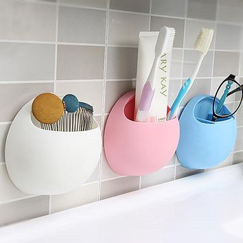 Suction Cup Toothbrush Holder Bathroom Organizer Tooth Brush Shelf Sundries Rack Kitchen Storage Container
