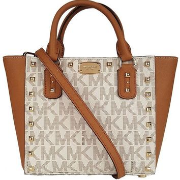 DCCK2JE Michael Kors Sandrine Stud Acorn Small Crossbody Leather Handbag Vanilla