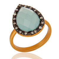 Handmade 925 Sterling Silver Blue Aqua Glass Gemstone Ring With Gold Vermeil