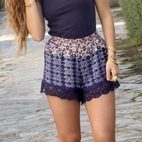 The Grove Blue Floral Print Lace Trim Shorts