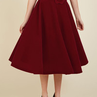 Make Your Presence Throne Midi Skirt in Ruby | Mod Retro Vintage Skirts | ModCloth.com