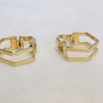 Art Deco Hoop Style Earrings, Gold Tone, Clip On, Tiny Hoop Earrings, 1970's, Estate Piece, Jewelry