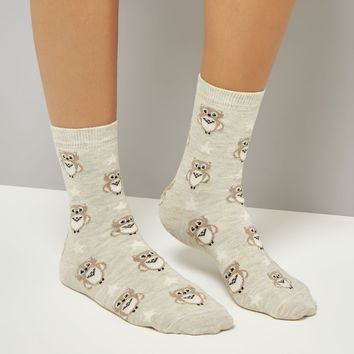 Cream Owl Print Socks | New Look