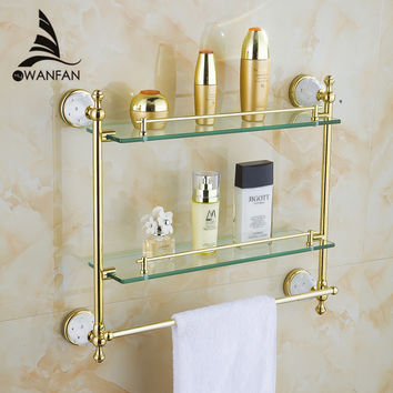 Bathroom Accessories Solid Brass Golden Finish W/ Tempered GlassDouble Glass Shelf Bathroom Shelf 5216