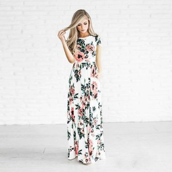 Evening Party Fashion Cute Summer Women Slim O-Neck Floral Print Pocket A-Line Ankle-Length Loose Dress 3 Style