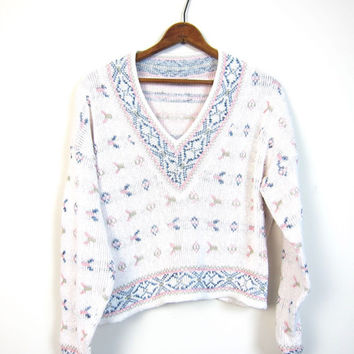 Tribal Print Cropped Sweater 80s Slouchy Vneck Boxy White Blue Pink Jumper Boho Hipster Vintage Small Medium Hipster Girl