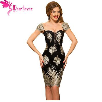 Dear-Lover party dresses Elegant Sexy Ladies Gold Embroidered Puff Sleeve Little Black Slim Dress Vestido de Festa Curto LC61356