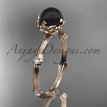 14k rose gold Tahitian Black Pearl vine and leaf engagement ring ABP38