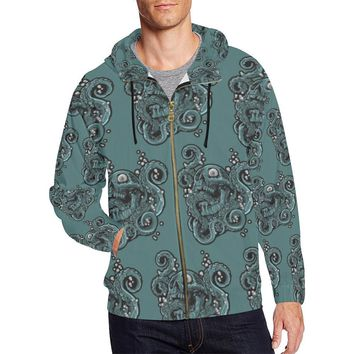 Skulls & Squids Design 1 Men's All Over Print Full Zip Hoodie