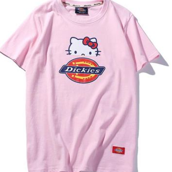 DicKies fashion print pink women round neck short sleeve Top