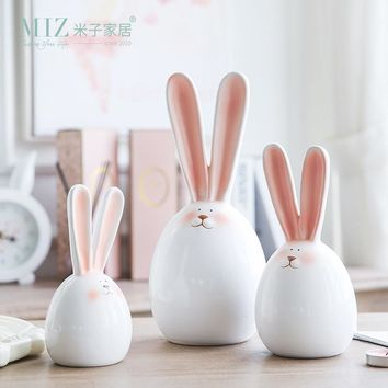 Miz 1 Piece Rabbit Figurine Home Decoration Accessories Ceramic Doll Birthday Gift for Kids Lovely Rabbit for Home Decor
