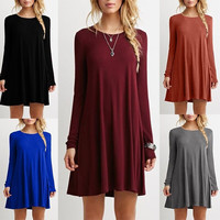 2016 New ukraine winter dress casual Europe solid thin long sleeved full knee length loose stitching dress 10 color size women