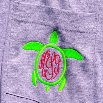 Turtle MONOGRAMMED Pocket Tee - LONG Sleeve - Sorority Gift - Bridesmaid Gift