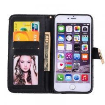 Black Bling Diamond Card Leather Wallet Flip Case For iPhone 5.5 or iPhone 6