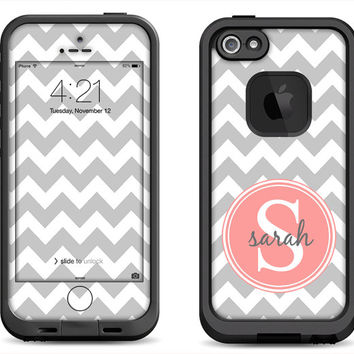 Gray Chevron Pattern w/ Rose Peach Monogram Decal Skin for the iPhone 4/4s Lifeproof Case or iPhone 5/5s Lifeproof Case